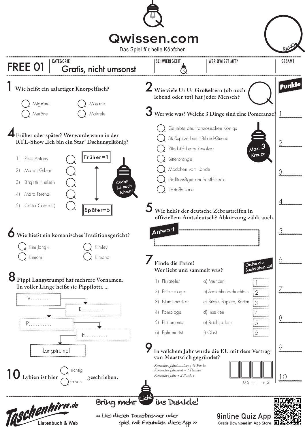 Lustige Pub Quiz Fragen