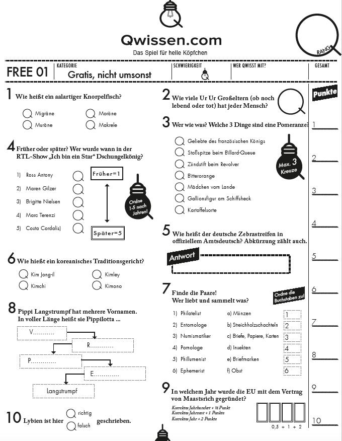 Quizfragen zum ausdrucken kostenlos